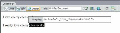 Screenshot of Quick Tag Editor in Dreamweaver