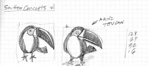 A couple initial toucan sketches from Mike Rohde